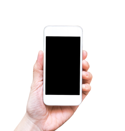 Hand holding smart phone isolated on white background,Mock up for adding your content on screen and background.