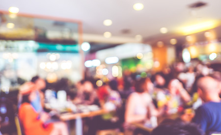 Blurred background : Customer at restaurant blur background with bokeh. Stock Photo