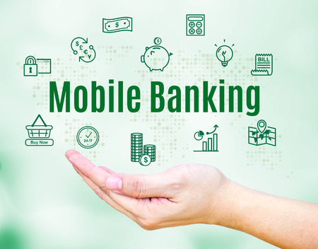 mobile banking: Open hand with Mobile banking word and feature icon,Internet Banking concept.