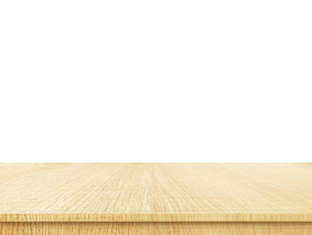 wooden floors: Empty light wood table top isolate on white background, Leave space for placement you background,Template mock up for display of product.