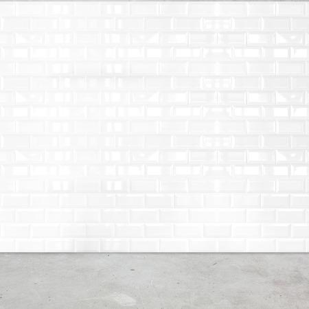 視点、白いセラミック タイル セメントの壁および地面を部屋します。
