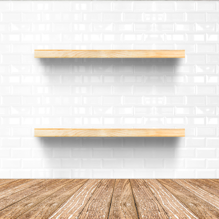 tile flooring: white tile room and wooden flooring with wooden shelf, Mock up for display of product.