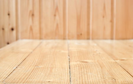 empty room background: Empty wood plank room with corner, texture background.
