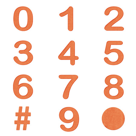 ornage: Set of orange color number  in Paper craft texture isolated on white background.