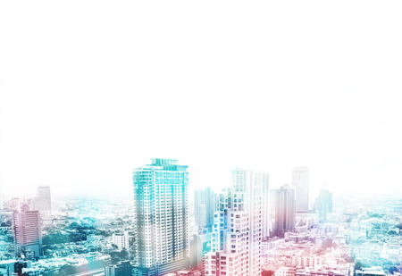 Cityscape view overlay with color and leave copy space on top to adding text,Business concept. Stock Photo