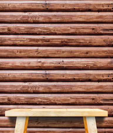 logs: Empty Wooden Table top at red brown log wood wall,Template mock up for display of your product.