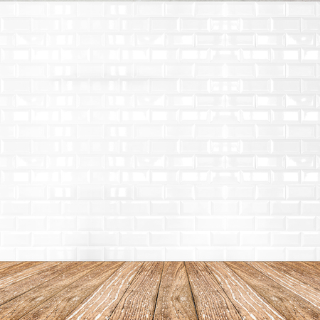 Room perspective,white ceramic tile wall and wooden ground, Mock up template for display of product.