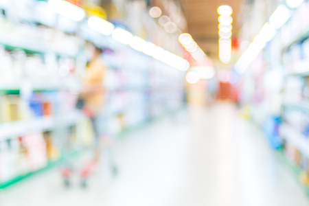 Blurred background,Customer shopping at Supermarket store blur background with bokeh.