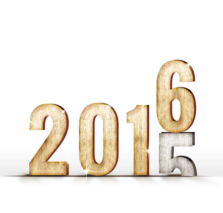 new years: 2015 wood number year change to 2016 year in white studio room, New year concept. Stock Photo