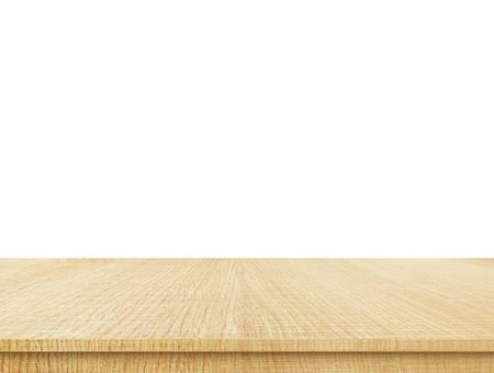 vintage timber: Empty light wood table top isolate on white background, Leave space for placement you background,Template mock up for display of product.