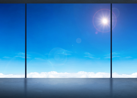 see through: Silhouette of Room in office building see through to window at blue sky and sun ,Modern business concept,Mock up for adding your content. Stock Photo