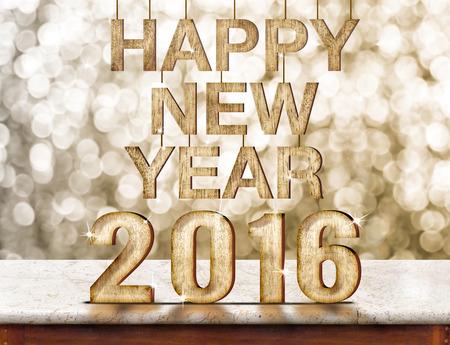 New Year: Szczęśliwego Nowego Roku 2016 struktura drewna na marmurowym stole z musującym ścianie bokeh, koncepcja wakacje.