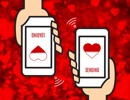 sending: Hand holding mobile and sending love view wireless network on red heart bokeh background, Digital love concept. Stock Photo