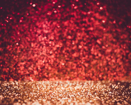copy sapce: Abstract red wall and gold floor glitter background, Celebration texture background with vintage filter. Stock Photo