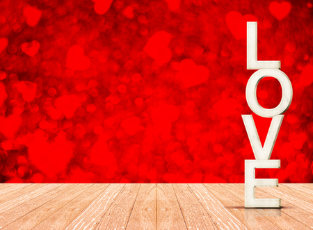 white wood floor: White Love wood in perspective room with red heart sparkling bokeh wall and wooden plank floor, Leave space to adding your content.