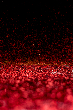 Abstract red glitter perspective to blank background,Studio style mock up for adding your product.