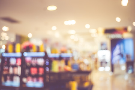store shelf: Blurred background : product shelf at department store with bokeh. Stock Photo