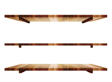 rack: Empty wooden shelfs in 3 angle view isolated on white background. Stock Photo