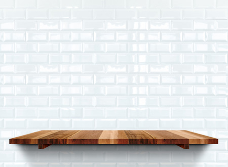 shelfs: Empty wooden shelfs on white glossy tile wall, Mock up template for display of product.