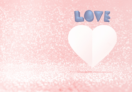 white heart: Pastel blue 3d love and white paper heart shape floating in pastel pink bokeh room, Valentines concept, Leave space for adding your text. Stock Photo