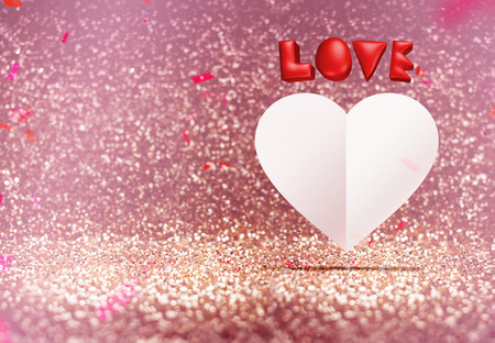 room for your text: Red 3d love and white paper heart shape floating around confetti in vintage glitter studio room, Valentines concept, Leave space for adding your text.