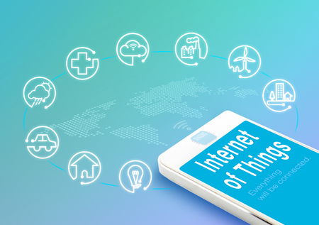 enveloped: Smart phone with Internet of things (IoT) word and objects icon,Internet networking concept.