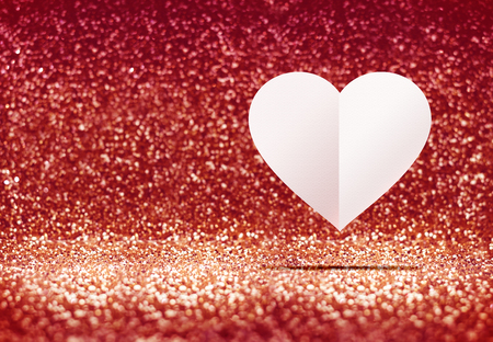 room for your text: paper heart in red glitter studio room, Leave space for adding your text, Love concept.