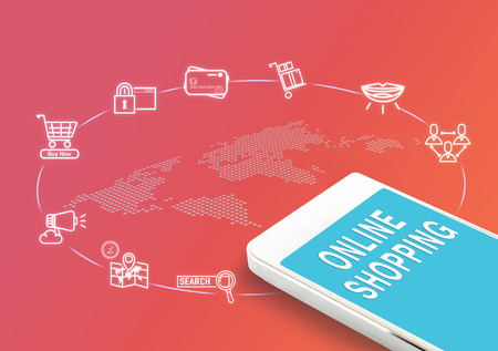 word of mouth: Mobile with Online shopping word and icons, Digital business Marketing concept..