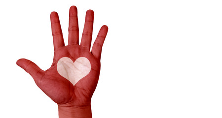 raised hand: Raised hand paint with red color and leave space in heart shape,Leave space for adding your content. Stock Photo