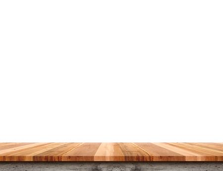 Leeres helles hölzernes Tischplattenisolat auf weißem Hintergrund, lassen Raum für Platzierung Sie Hintergrund, Schablonenspott oben für Anzeige des Produktes