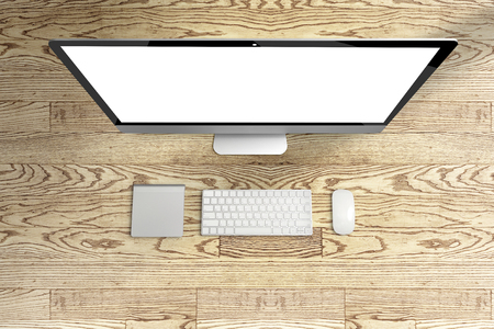 wooden window: Top view of computer and keyboard, mouse with blank screen on wooden table, Mock up template for adding your content,Digital business concept. Stock Photo