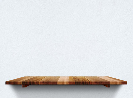 rustic kitchen: Empty wooden shelfs on pastel grunge concrete wall, Mock up template for display of product. Stock Photo