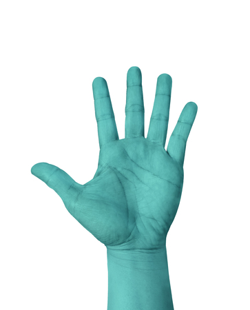 raised hand: Turquoise color hand show five finger isolated on white background, hand raised Hand.