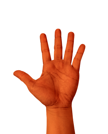 raised hand: Orange color hand show five finger isolated on white background, hand raised Hand.