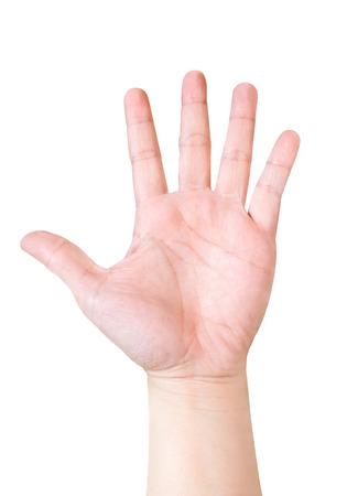 Hand zeigen fünf Finger isoliert auf weißem Hintergrund, die Hand hob Hand.