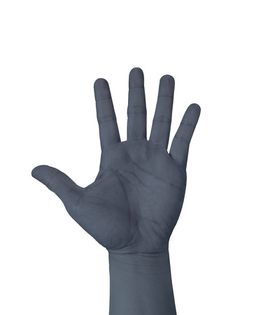 raised hand: Dark grey color hand show five finger isolated on white background, hand raised Hand. Stock Photo