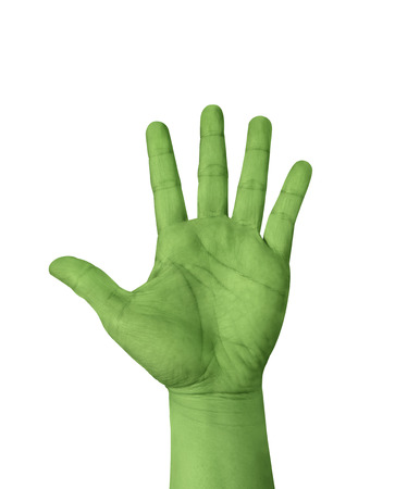 hand lifted: Light green hand show five finger isolated on white background, hand raised Hand.