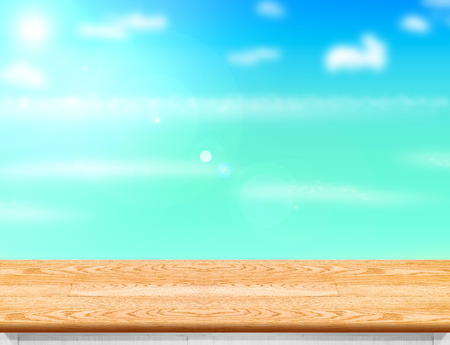 sun beach: Wood table top with blurred sea,sun and beach at background, Mock up template for display or montage of your product, Summer holiday concept.