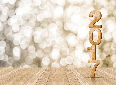 2017 jaar hout getal in perspectief ruimte met mousserende bokeh muur en houten plankenvloer, laat ruimte voor de weergave van het product.
