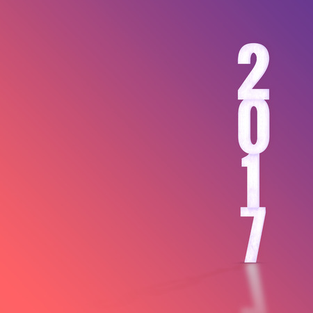 color of year: 2017 white wood texture with material design color backdrop, Happy New Year holiday concept Stock Photo