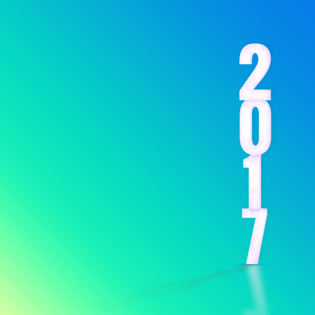 blue gradient: 2017 white wood texture with material design color backdrop,Happy New Year holiday concept
