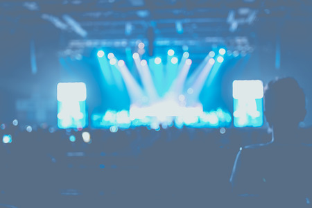 concert background: Blurred background : Bokeh lighting at stage in concert with audience