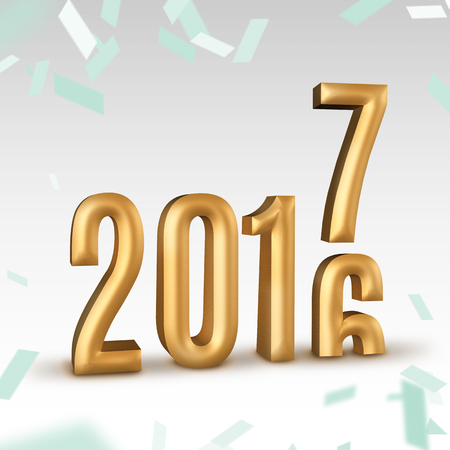 anticipation: 2016 gold number year change to 2017 new year in white studio room with confetti, New year concept,3D rendering. Stock Photo