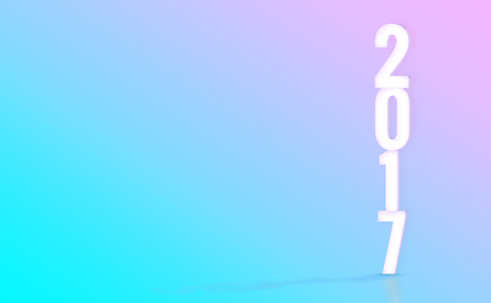 color of year: 2017(3D rendering) white number with material design color backdrop,Happy New Year holiday concept,Leave space for display your product.. Stock Photo