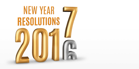 resolutions: New Year Resolutions 2016 gold number year change to 2017 new year in white studio room, New year concept,3D rendering, Leave space for display your content.