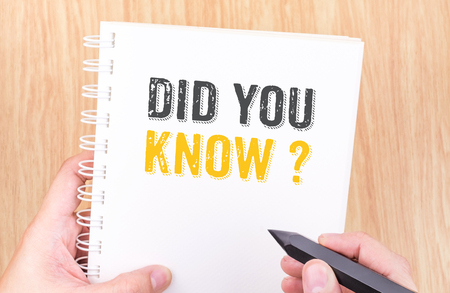 did you know: Did you know? word on white ring binder notebook with hand holding pencil on wood table,Business concept.
