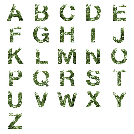 s c u b a: Collection of A-Z alphabet letter double exposure with dark green leaves isolated on white background,clipping path.