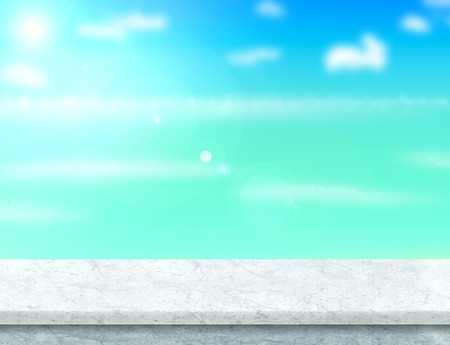 holiday display: white marble table top with blurred sea,sun and beach at background, Mock up template for display or montage of your product, Summer holiday concept.