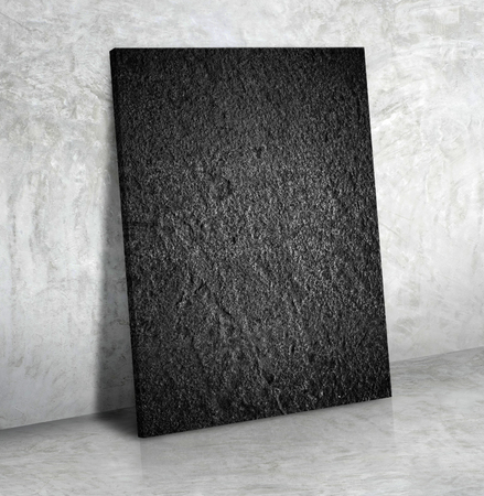 gray: Blank black rough stone poster on the grey concrete wall and cement floor,Mock up to display or montage of your content. Stock Photo