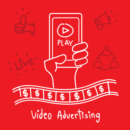 hand holding smart phone: Vector : Video Advertising word with hand holding smart phone with play icon, Digital Marketing concept?